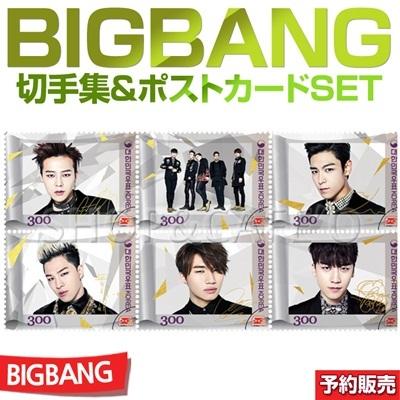 【1次予約】限定版BIGBANG 切手セット GOLD ver+切手10枚+アルバム+18K切手1枚+はがき5枚(サインコメント入り)ビッグバンの画像