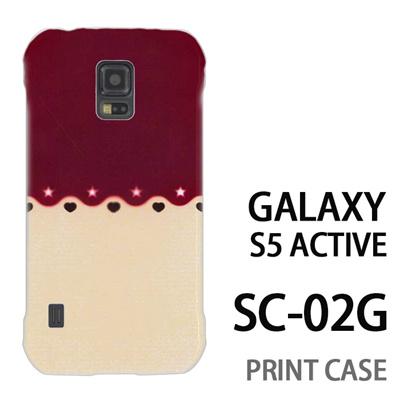 GALAXY S5 Active SC-02G 用『1002 星とハート 茶×ベージュ』特殊印刷ケース【 galaxy s5 active SC-02G sc02g SC02G galaxys5 ギャラクシー ギャラクシーs5 アクティブ docomo ケース プリント カバー スマホケース スマホカバー】の画像