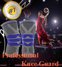 Professional Knee Guard with Metal Support and Silicone Cover / Breathable / Elastic / Durable