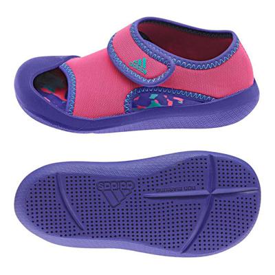アディダス (adidas) ジュニア サンダルファン I(ナイトフラッシュ×ソーラーピンク×ビビッドミント) B39863 [分類:キッズ・子供靴 コンフォートサンダル]の画像