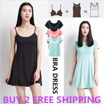 BIG SALE!The Lowest Price in Qoo10!Buy 2 free shipping/2016 Premium quality padded Camisole / Bra dress/Tank Top/ Singlet dress with bra cup padding/ Tank Top bra/ T- shirt Bra/ Long dress Bra/