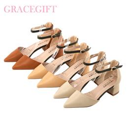 ♥New Arrival♥Gracegift-Classic Contrast Strap Pointy Toe Block Heels/Women Shoes