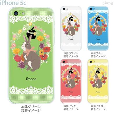 【iPhone5c】【iPhone5cケース】【iPhone5cカバー】【クリア ケース】【iPhone カバー】【スマホケース】【イラスト】【クリアケース】【フラワー】【うさぎ】 09-ip5c-ca0031の画像