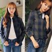 グリーンチェック柄シャツ☆レディースシャツ トレンドシャツ ブラウス 韓国ファッション p000bxxg