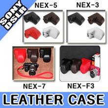 ★BigSale★New SONY NEX Alpha Leather Half Case + Cover + Strap (4 Colors) For SONY Alpha a5100 a5000 a6000 NEX-5R NEX-6 NEX-7 NEX-F3 NEX-5N NEX-C3 NEX-5 NEX-3 / Free shipping