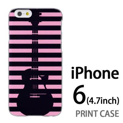 iPhone6 (4.7インチ) 用『0713 ピンク黒ストライプギター』特殊印刷ケース【 iphone6 iphone アイフォン アイフォン6 au docomo softbank Apple ケース プリント カバー スマホケース スマホカバー 】の画像
