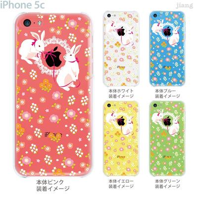 【iPhone5c】【iPhone5cケース】【iPhone5cカバー】【iPhone ケース】【クリア カバー】【スマホケース】【クリアケース】【イラスト】【フラワー】【白うさぎ】 09-ip5c-ca0032の画像