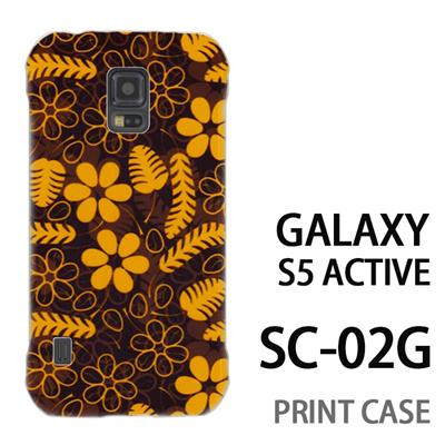 GALAXY S5 Active SC-02G 用『1101 羽と花と葉 黒』特殊印刷ケース【 galaxy s5 active SC-02G sc02g SC02G galaxys5 ギャラクシー ギャラクシーs5 アクティブ docomo ケース プリント カバー スマホケース スマホカバー】の画像