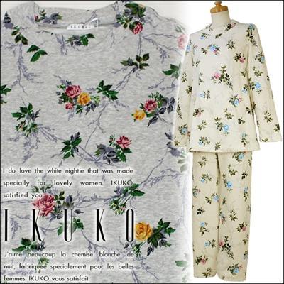 【送料無料】 イクコ IKUKO ナイティ パジャマ ルームウェア 接結ニット 花柄プリント かぶりタイプ 長袖 XQ200Pの画像