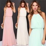 2015 women dress elegant bohemian beach summer dress ultra perfect fairy hang-neck sexy maxi dress party dress chiffon halter long dress