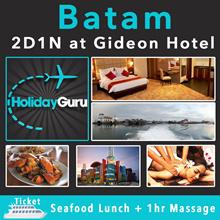 [ HOLIDAY GURU ] Batam: 2D1N at Gideon Hotel with Buffet Breakfast + 2-Way Ferry Tickets.Min 2 Pax