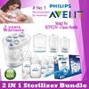Philips Avent Baby 2-in-1 electric steam sterilizer - Kill 99.9% of harmful germs | Sterilizes in 10 minutes | Fits 5 Philips Avent bottles | 2 Years International Warranty