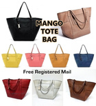 [8 COLORS] MANGO Python Skin Tote Bag (Apricot Brown Black Red Camel Dark Blue Yellow Pink) + Free Registered Mail Delivery