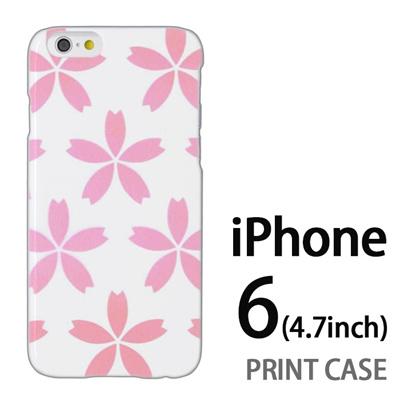 iPhone6 (4.7インチ) 用『0713 白にピンク花びら』特殊印刷ケース【 iphone6 iphone アイフォン アイフォン6 au docomo softbank Apple ケース プリント カバー スマホケース スマホカバー 】の画像