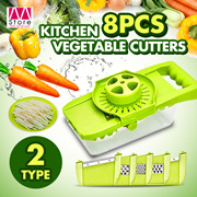 Kitchen multifunctional vegetable Cutters/ 8pcs Set Slices Cutters/ Pruning Cutters/ Double colors/