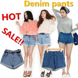 free shipping!This year the super popular! The popularity of jeans debut! Europe and the United States *comfortable high waisted retro pants * denim shorts with a belt S139