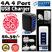 4 Port USB Wall / Travel Charger with EU/AU/US/UK Plug / LED USB Cable / iPhone / Android