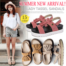 SUMMER NEW ARRIVAL!Lady Flat Sandals Tassel Sandals Casual Platform Shoes Peep-toe  Summer Beach Sandals /Hot Sale!