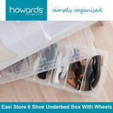 Howards Storage World - Easi Store 6 Shoe Underbed Box With Wheels