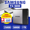 Samsung T3 Portable USB 3.0 External SSD   250GB 500GB 1TB Available
