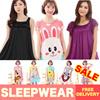 ★Cute Cartoon Sleepwear ★ Women Silk Pajamas Dress Short Sleeve Nightdress Female Singapore Seller