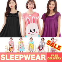 ★Cute Cartoon Sleepwear ★ Women Silk Pajamas Dress Short Sleeve Nightdress Female Singapore Seller