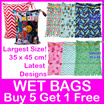 Wet Bags! 35x45cm Double Zipper Snap Hook/ Diaper Clutch /Waterproof/ Washable/ Gym Pool Childcare