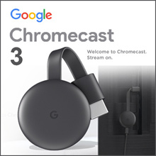 Chromecast 3.0 - HDMI Media Streaming Device Airplay Mirror