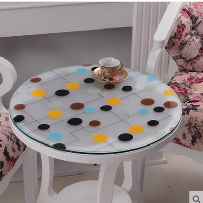 Qoo10 roundtable soft transparent frosted glass table for Table za stolove