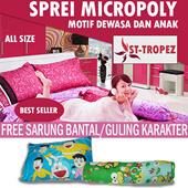 SPREI MICROPOLY 120 X 200 SATU PAKET MURAH MERIAH - FREE SARUNG BANTAL/GULING