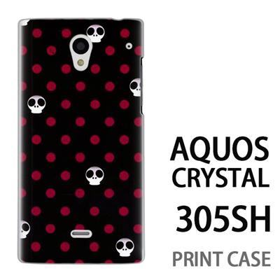 AQUOS CRYSTAL 305SH 用『1003 キュートドクロドット 黒』特殊印刷ケース【 aquos crystal 305sh アクオス クリスタル アクオスクリスタル softbank ケース プリント カバー スマホケース スマホカバー 】の画像