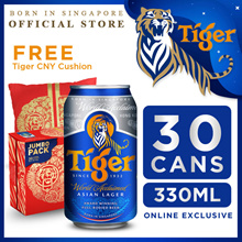 Tiger Beer 330ml x 30 Cans. Expiry Dec 2019. FREE Tiger Beer Cushion!!