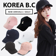 ★Korean caps ★Celebrity collection / baseball cap / solid color / logo embroidery