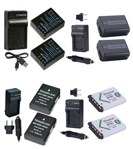 Smatree (2-Pack) Battery and Charger Kit For Canon Nikon Sony Olympus (3 Year Local Warranty)