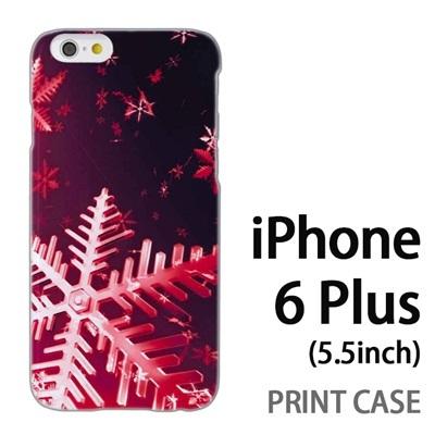 iPhone6 Plus (5.5インチ) 用『0110 雪の結晶 大 赤』特殊印刷ケース【 iphone6 plus iphone アイフォン アイフォン6 プラス au docomo softbank Apple ケース プリント カバー スマホケース スマホカバー 】の画像