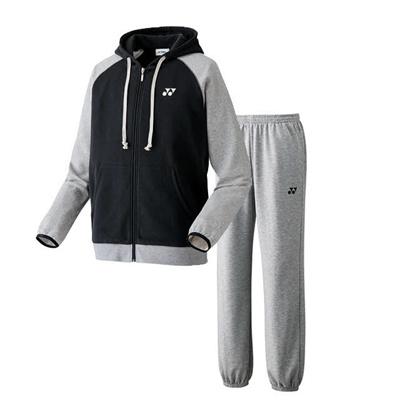 ヨネックス (YONEX) スウェットパーカー&パンツ 上下セット(ブラック×グレー) 32005-007-32006-010 [分類:テニス トレーニングジャケット] 送料無料の画像