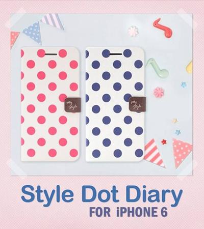 iPhone6カバーアイホン6 アイフォン6ケースiphoneケース アイフォン ブランド iphoneカバーiPhone6用 【iPhone6 4.7インチ】 Happymori Style Dot Diary(スタイルドットダイアリー)【レビューを書いてメール便送料無料】の画像
