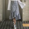 ♥レビュー優秀♥[ENVYLOOK]♥2COLOR♥アンバランスボタンチェックスカート♥フェミニンなラッフル♥着心地抜群のロングスカート♥推薦デーリー・ウェア/デート・ルック♥韓国ファッション♥