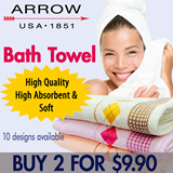 [ARROW Bath Towel 2 for $9.90] START ON 29 JUL 22:00HRS! NEW STOCK/MORE DESIGN. Size 70cm x 140cm) 10 Designs Available! 100% Cotton!