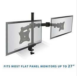 Dual Monitor Mount Desk Stand Clamp Full-Motion Adjustable Arms - Heavy Duty fits 2 Monitor Screens