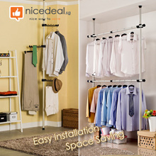 [NEW ARRIVAL] Standing Pole Clothes Hanger Rack 2501 / 3201 / A3202 / SKU1324/Adjustable Height / Space-Saving Organiser
