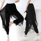 2015 Spring Summer pants chiffon sheer feeling its resort exotic harem pants black relax relaxatio