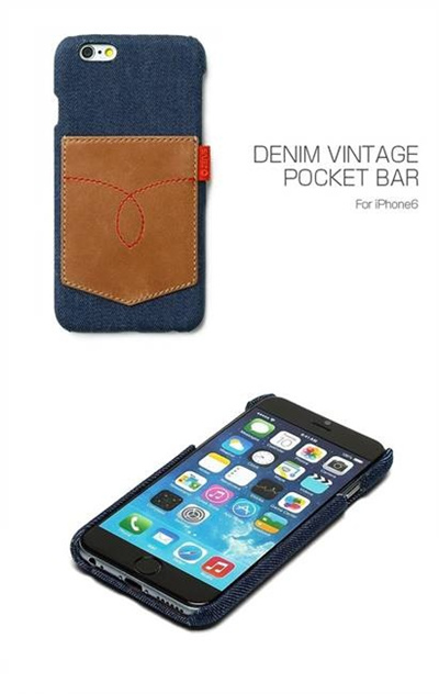 iPhone6カバーアイホン6 アイフォン6ケースiphoneケース アイフォン ブランド iphoneカバーiPhone6用 【iPhone6 4.7インチ 】ZENUS Denim Vintage Pocket Bar(デニムビンテージポケットバー)【メール便送料無料】の画像