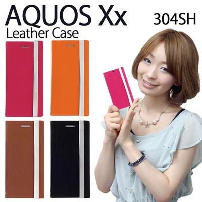 【期間限定セール】AQUOS Xx 304SH 用 三つ折り手帳型レザーケース【ケース カバー AQUOS Xx 304SH アクオス AQUOSXx 304SHケース 304SHカバー スマホケース スマホカバー softbank】の画像
