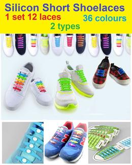 12pcs Set Silicon No Tie Shoelace / Shoe lace / Track Shoes / Sneakers / Boots / No Tie / Glow / Fas