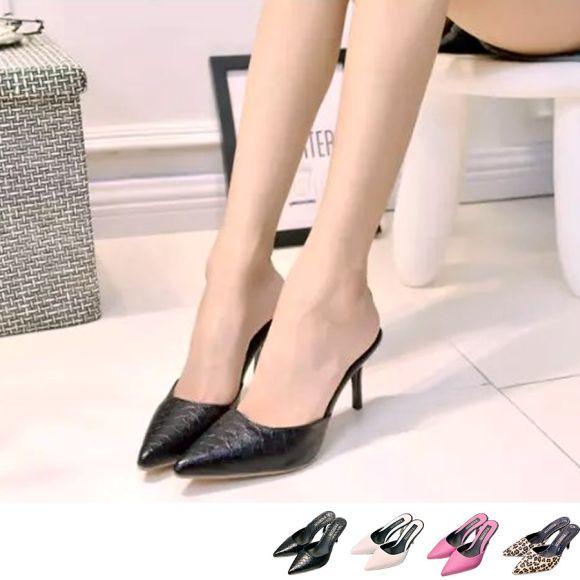 レディース 靴 パンプス ピンヒール ポインテッド ミュール 大人かっこいい おしゃれ シンプル 美脚 モード系 韓国 ファッション