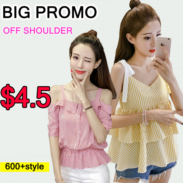 Clearance sale!! Korean /off shoulder tops/knitt T-shirts/Sling shirt/Strapless/Cheapest/chiffon Deals for only S$46.8 instead of S$0