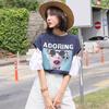 ♥送料 0円★PPGIRL_9857 ボリューム袖がポイント☆大人可愛い雰囲気を作る、華奢見え♪リボンスリーブプリントTシャツ