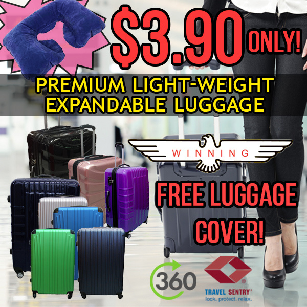 ?BEST SELLER? +NECK PILLOW PROMO! 20/24/28 TSA HARD CASE LUGGAGE.TRAVEL CABIN SIZE! DURABLE 4 WHEELS Deals for only S$89 instead of S$0