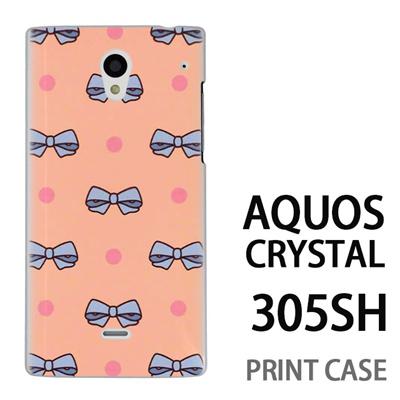 AQUOS CRYSTAL 305SH 用『1103 リボンドット ピンク』特殊印刷ケース【 aquos crystal 305sh アクオス クリスタル アクオスクリスタル softbank ケース プリント カバー スマホケース スマホカバー 】の画像